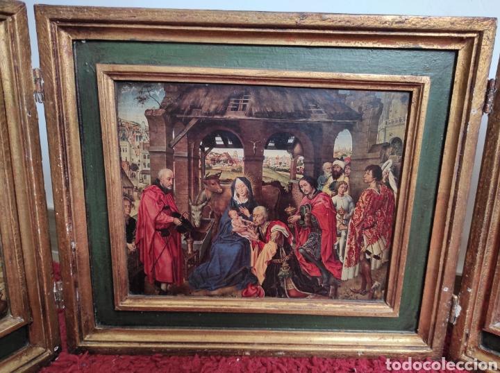 Arte: Antiguo tríptico adoración de los reyes magos. Medidas abierto 71x31cm - Foto 2 - 270108618