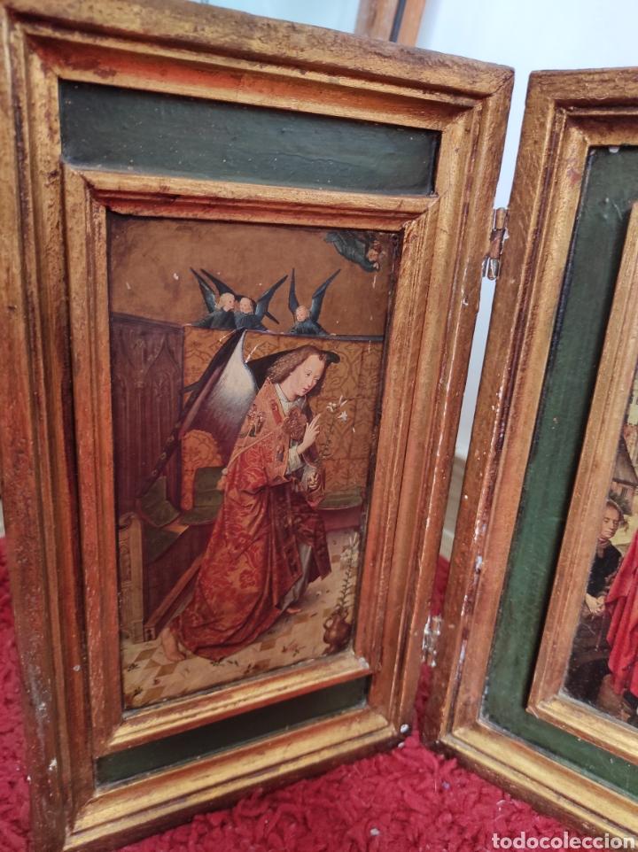 Arte: Antiguo tríptico adoración de los reyes magos. Medidas abierto 71x31cm - Foto 3 - 270108618