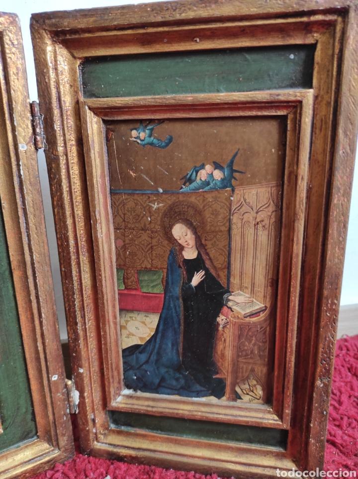 Arte: Antiguo tríptico adoración de los reyes magos. Medidas abierto 71x31cm - Foto 4 - 270108618
