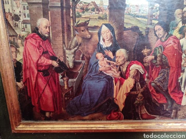 Arte: Antiguo tríptico adoración de los reyes magos. Medidas abierto 71x31cm - Foto 5 - 270108618