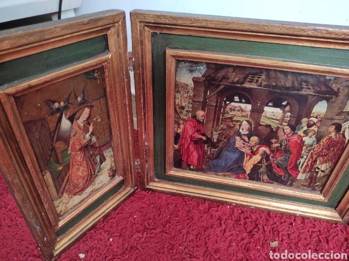 Arte: Antiguo tríptico adoración de los reyes magos. Medidas abierto 71x31cm - Foto 6 - 270108618