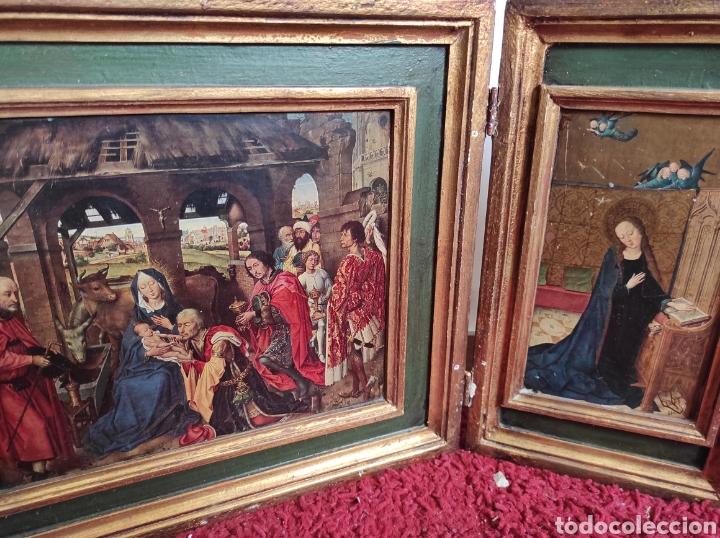 Arte: Antiguo tríptico adoración de los reyes magos. Medidas abierto 71x31cm - Foto 7 - 270108618