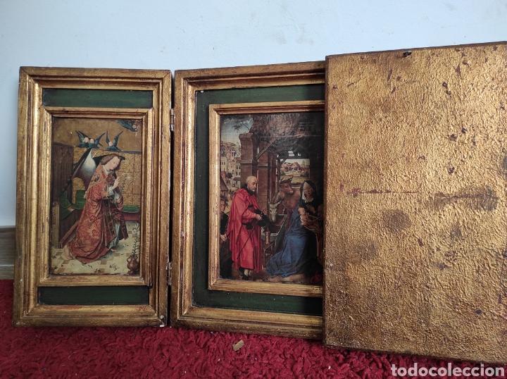 Arte: Antiguo tríptico adoración de los reyes magos. Medidas abierto 71x31cm - Foto 10 - 270108618