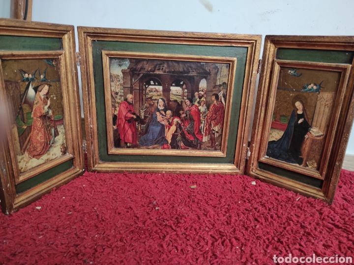 ANTIGUO TRÍPTICO ADORACIÓN DE LOS REYES MAGOS. MEDIDAS ABIERTO 71X31CM (Arte - Arte Religioso - Trípticos)