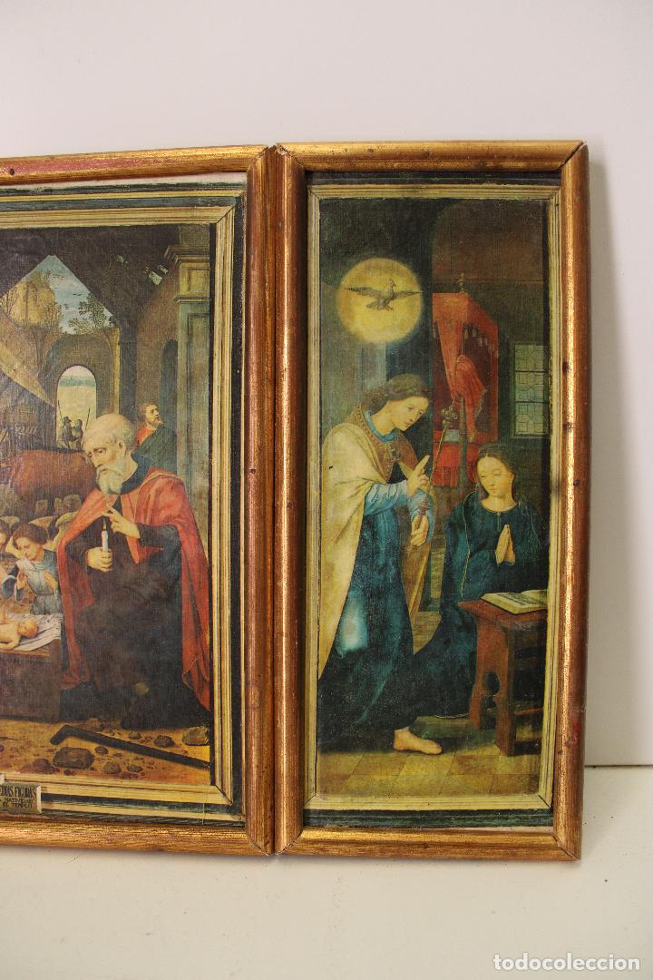 Arte: triptico antiguo religioso en madera laminada - Foto 2 - 270670293