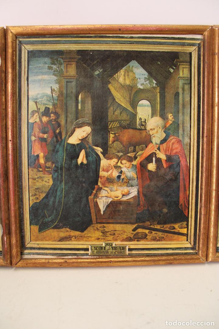 Arte: triptico antiguo religioso en madera laminada - Foto 5 - 270670293