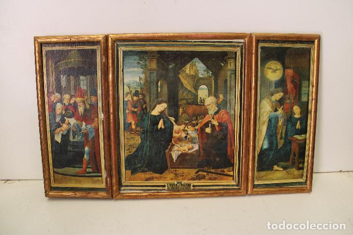 TRIPTICO ANTIGUO RELIGIOSO EN MADERA LAMINADA (Arte - Arte Religioso - Trípticos)
