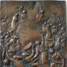 Arte: PLACA DE COBRE REPRESENTANDO EL CULTO DE LA TRINIDAD. SIGLO XVII. MIDE 19 X 13 CM.. Lote 270974303