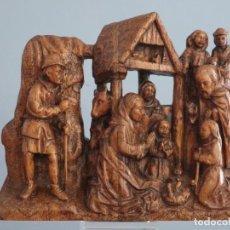 Arte: NATIVIDAD. RELIEVE DE MADERA TALLADA. ESCUELA FLAMENCA DEL SIGLO XVIII. MIDE 33 X 28 CM.. Lote 272493023