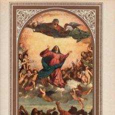 """Arte: 1927, LÁMINA ANTIGUA , """"LA ASUNCIÓN DE LA VIRGEN MARÍA"""", TIZIANO VECELLIO, 23X31 CMS.. Lote 272726648"""