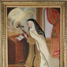 Arte: SANTA TERESA DE JESÚS. ÓLEO Y SEDAS SOBRE SEDA. SIGLO XIX. MIDE 57 X 45 CM.. Lote 273006108