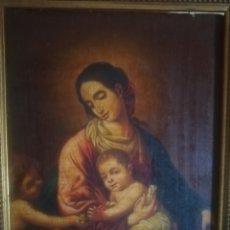 Arte: OLEO EN TABLA VIRGEN MARIA, NIÑO Y SAN JUANITO.. ME DICEN AÑOS 1800....ACEPTO OFERTAS RAZONABLES. Lote 273128478