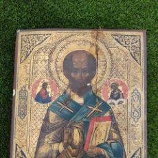 Arte: IMPRESIONANTE Y ANTIGUO ICONO RUSO POSIBLEMENTE SIGLO XLX (TIENE ROTURA COMO SE APRECIA EN LA FOTO). Lote 273186703
