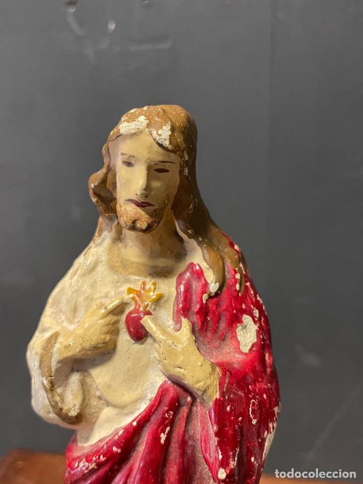 Arte: SAGRADO CORAZÓN DE JESÚS EN ESTUCO POLICROMADO 22 cm de alto - Foto 3 - 273631253