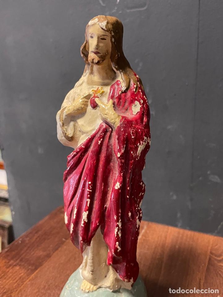 Arte: SAGRADO CORAZÓN DE JESÚS EN ESTUCO POLICROMADO 22 cm de alto - Foto 4 - 273631253