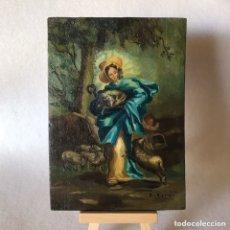 Arte: PEQUEÑO OLEO SOBRE TABLA - RELIGIOSO - VIRGEN DIVINA PASTORA DE LAS ALMAS. Lote 273766288