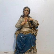 Arte: SAGRADO CORAZON DE MARIA DE ESTUCO POLICROMADO. 24CM.. Lote 274185413