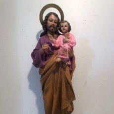 Arte: PRECIOSO SAN JOSE Y NIÑO JESUS DE ESTUCO. SELLO ANONIMA MATO OLOT. 42CM.. Lote 274321203