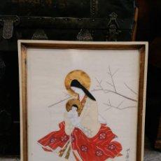 Arte: NATIVIDAD MATERNIDAD SOBRE SEDA. VIRGEN JAPONESA. FIRMADA. ARTE JAPONES. Lote 274570943