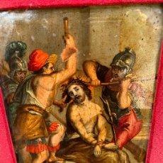 Arte: ANTIGUO COBRE RELIGIOSO PINTADO CON MUCHA ANTIGÜEDAD. Lote 274624543