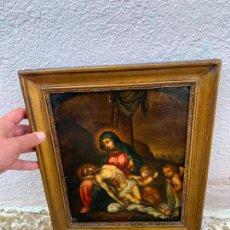 Arte: ANTIGUO COBRE PINTADO RELIGIOSO DE GRAN CALIDAD. Lote 274625268