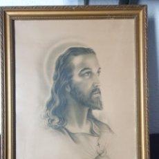 Art: ANTIGUO CUADRO CARBONCILLO JESÚS CRISTO. Lote 274871323