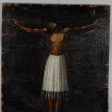 Arte: CRISTO DE BURGOS. LIENZO PEGADO A TABLA. SIGLO XVIII.. Lote 274924548