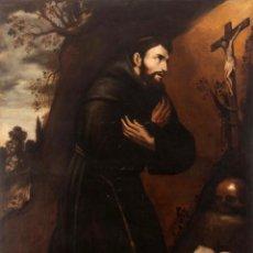 Arte: ESCUELA SEVILLANA SIGLO XVII - ÓLEO SOBRE LIENZO SAN FRANCISCO DE ASIS - 141X106 CM. Lote 275023383