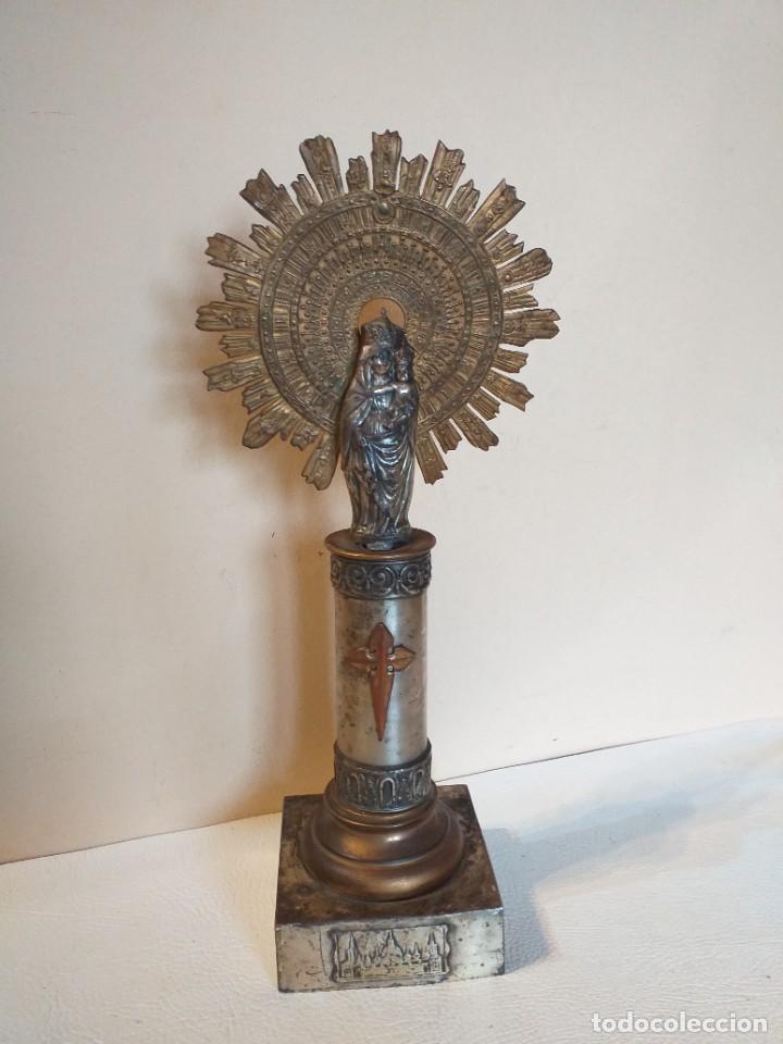 PRECIOSA VIRGEN DE METAL CON PEANA. (Arte - Arte Religioso - Iconos)