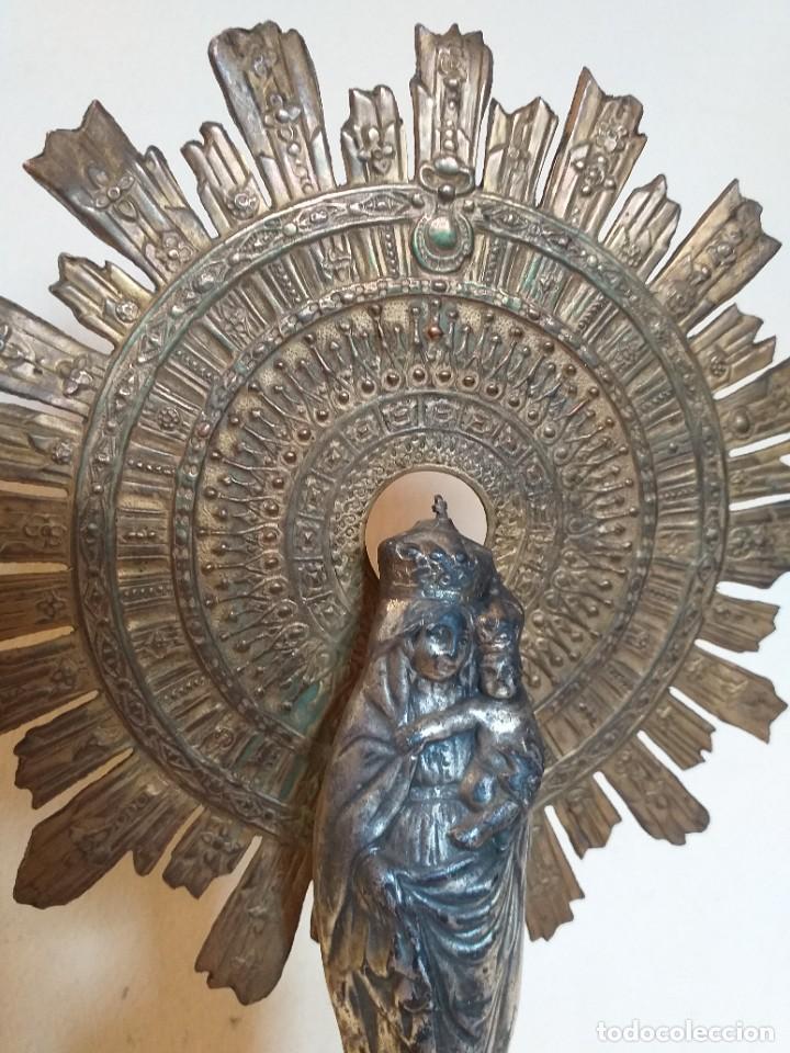 Arte: PRECIOSA VIRGEN DE METAL CON PEANA. - Foto 7 - 275205273