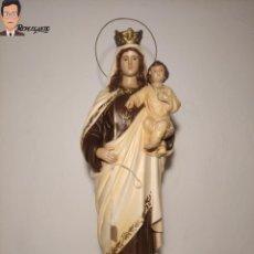 Arte: ANTIGUA IMAGEN DE LA VIRGEN DEL CARMEN CON NIÑO JESÚS EN BRAZOS (45 CM) POLICROMADA (AÑOS 60). Lote 275224503