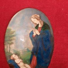 Arte: ANTIGUO ESMALTE RELIGIOSO PINTADO A MANO, VIRGEN Y EL NIÑO.. Lote 275251598