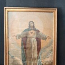 Arte: ANTIGUA LAMINA COLOREADA DE SAGRADO CORAZON DE JESUS. Lote 275277183