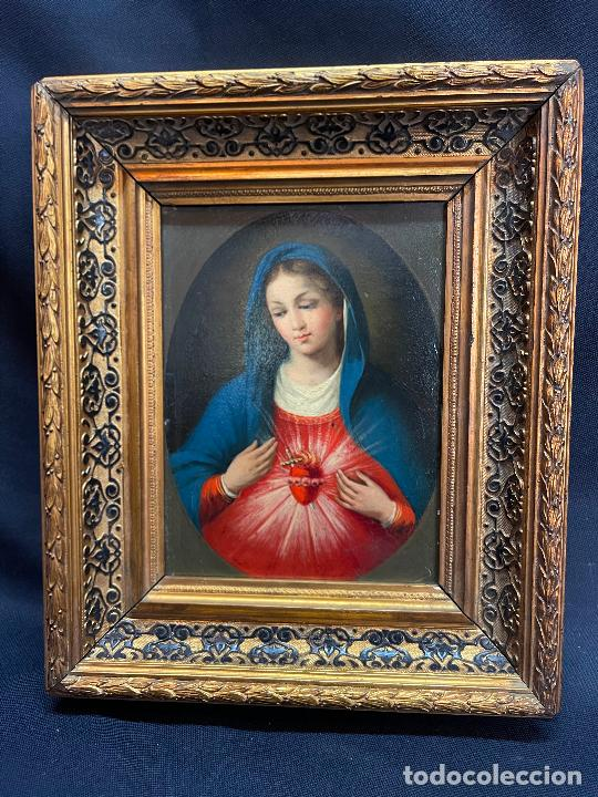 SAGRADO CORAZON DE MARÍA. OLEO SOBRE LIENZO CON BONITO MARCO. S.XIX. (Arte - Arte Religioso - Pintura Religiosa - Oleo)