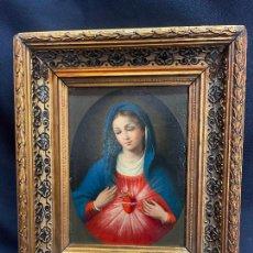 Arte: SAGRADO CORAZON DE MARÍA. OLEO SOBRE LIENZO CON BONITO MARCO. S.XIX.. Lote 275465608