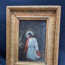 Arte: JESUS ORANDO EN EL HUERTO DE LOS OLIVOS. OLEO SOBRE TABLA FIRMADO POR ANSELMO GASCÓN DE GOTOR. Lote 275466093