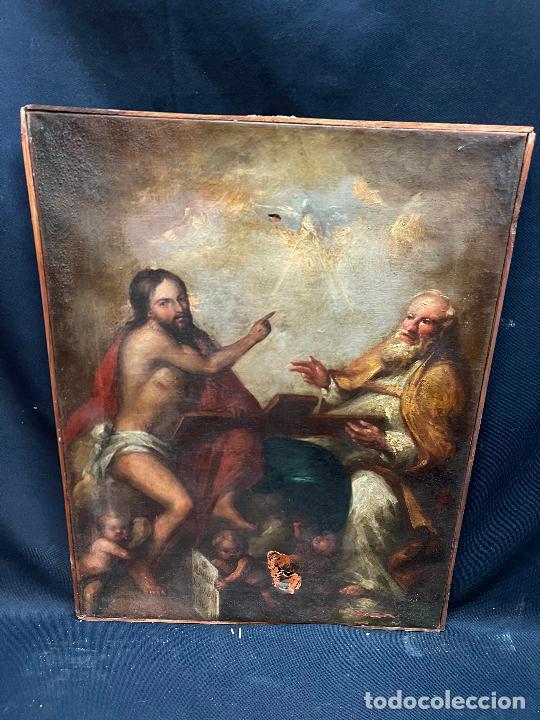 SANTISIMA TRINIDAD. OLEO SOBRE LIENZO, ESCUELA ITALIANA SIGLO XVIII. DEFECTOS RESEÑADOS EN FOTOS. (Arte - Arte Religioso - Pintura Religiosa - Oleo)