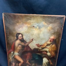 Arte: SANTISIMA TRINIDAD. OLEO SOBRE LIENZO, ESCUELA ITALIANA SIGLO XVIII. DEFECTOS RESEÑADOS EN FOTOS.. Lote 275484913