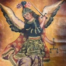 Arte: ARCANGEL SAN MIGUEL, ESCUELA CUZQUEÑA, OLEO SOBRE LIENZO.. Lote 275085143