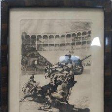 """Arte: """"ESCENA TAURINA"""" DE JOAN GARCÍA-JUNCEDA SUPERVIA (1881-1948), GRABADO DE 1929.. Lote 275710018"""
