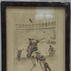 """Arte: """"ESCENA TAURINA"""" DE JOAN GARCÍA-JUNCEDA SUPERVIA (1881-1948), GRABADO DE 1929.. Lote 275710423"""
