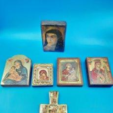 Arte: COLECCION DE ICONOS BIZANTINOS, MADERA ANTIGUA CON IMÁGEN SANTA TERESA DE JESÚS Y CRUZ ARTE CISTER. Lote 275727163