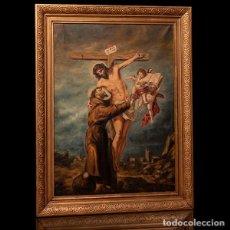 Arte: ANTIGUA ÓLEO SOBRE LIENZO SAN FRANCISCO ABRAZANDO A CRISTO EN LA CRUZ. Lote 275745728