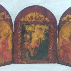 Arte: RETABLO RELIGIOSO TRIPTICO 36X24 CM. Lote 275752858