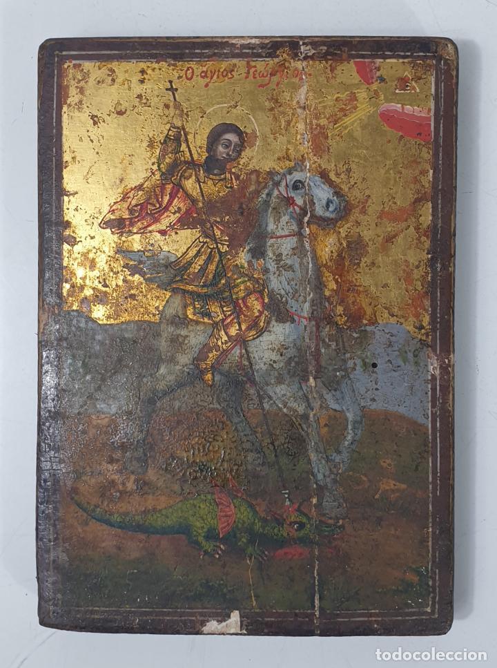 ANTIGUO ICONO - SAN JORGE - ÓLEO SOBRE MADERA - S. XVII-XVIII (Arte - Arte Religioso - Iconos)