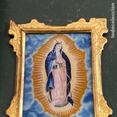 Arte: VIRGEN DE GUADALUPE TRABAJO MEXICANO OLEO SOBRE VIDRIO MARCO DE MADERA DORADO S.XVIII. Lote 275861158