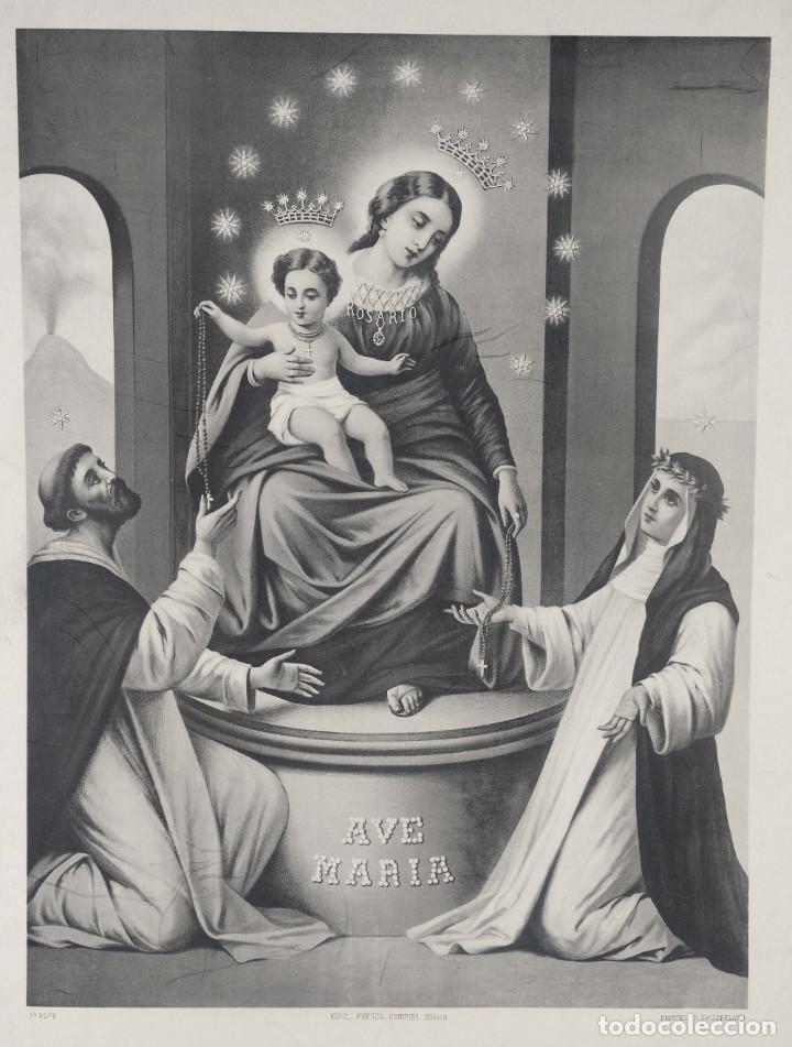 LITOGRAFÍA AVE MARÍS KUNZLI FRÈRES EDITEURS (Arte - Arte Religioso - Litografías)