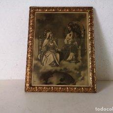 Arte: EXCELENTE CUADRO DE MADERA CON IMAGEN RELIGIOSA, CORAZONES DE JESÚS Y DE MARÍA? UNOS 43 X 33 CM(C15). Lote 276131243