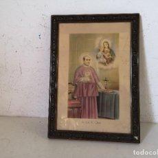 Art: ANTIGUO CUADRO CON LITOGRAFÍA O IMAGEN RELISIOSA, SAN ANTONIO MARÍA CLARET, CRISTAL, 38 X 24 (C26). Lote 276137538