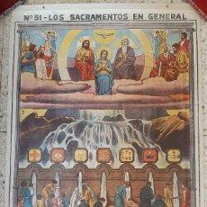 Arte: LÁMINA MURAL : Nº 51 SACRAMENTOS EN GENERAL / 1912 ? 103 X 68 CM. Lote 276163568